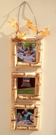 marcos par fotos con corchos de vino