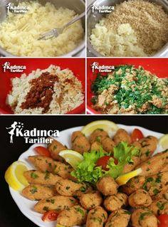 Potato Bulgur Koftesi Recipe How to Videolu Tarif Potato Recipes, Pasta Recipes, Cooking Recipes, Kool Aid, Turkish Recipes, Ethnic Recipes, Turkish Breakfast, Patties Recipe, Greek Cooking
