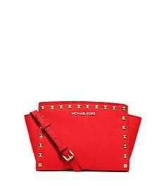 Selma Medium Studded Saffiano Leather Messenger