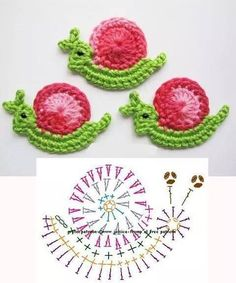 Crochet snail diagram ༺✿ƬⱤღ h Crochet Escargot, Marque-pages Au Crochet, Appliques Au Crochet, Crochet Snail, Crochet Mignon, Crochet Motifs, Crochet Diagram, Freeform Crochet, Crochet Chart