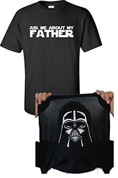 Jacted Up Tees Ask Me About My Father Darth Vader Flip Up Men's T-Shirt - 2XL Black (650)