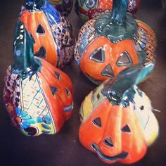 Talavera Pumpkins #oldworldpotteryofwichitafalls #talavera #pumpkins #variety…