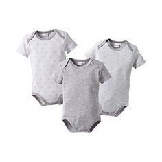 BORNINO 3er-Pack Bodys kurzarm Baby, Größe 62/68, grau Outfit, Onesies, Arm, Clothes, Fashion, Moving Out, Baby Size, Cotton, Patterns