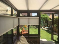 Conservatory pleated roof blinds with roller blinds to the sides to keep it cool and with ability to have some shade from the sun plus privacy. To book a. Living Products, Keep Cool, Roller Blinds, Shutters, Outdoor Living, Shades, Windows, Sun, Mansions