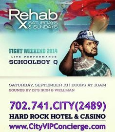 Schoolboy Q at REHAB Las Vegas Saturday September 13th. Contact 702.741.2489 CITY VIP CONCIERGE for Cabanas, Daybeds, Bungalows Reservations and the BEST of Las Vegas Pool Parties. #REHABLasVegas #LasVegasPoolParties #VegasPoolParties #LasVegasVIPServices #VegasBottleService #CityVIPConcierge #VegasCabanas CALL OR CLICK TO BOOK www.VegasCabanas.com