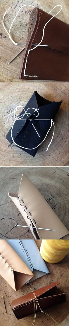 Four ways to stitch leather goods. Photos: 1. Bifold leather wallet 2. Vertical card holder 3. iPhone 5 leather case 4. iPhone 4 sleeve case #wallet #cardholder