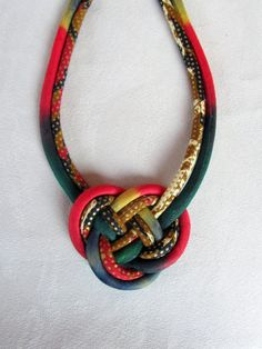 Josephine knot Bib necklace African wax fabric and batik by nad205