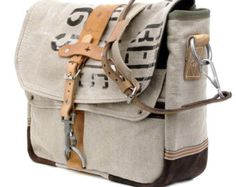 7ff86f09ff2 Belgian Army Postbag Canvas Messenger    Handmade   Upcycled by peace4you,  GERMANY