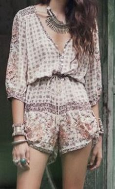 Love these Colors! Love the Accessories! Ethnic Bohemian Style Plunging Neck Various Pattern 3/4 Sleeve Summer Romper #Boho #Chic #Ethnic #Bohemian #Style #Jumpsuit #Romper #Summer #Fashion