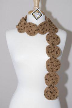 Chocolate Chip Cookies,crochet scarf,crochet food scarf,crochet dessert scarf