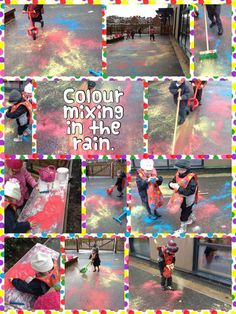 Color Mixing in the rain- powder paint in icing decoration bottles spread around with brooms Eyfs Activities, Rainy Day Activities, Educational Activities, Outdoor Activities, Eyfs Outdoor Area, Outdoor Art, Outdoor Play, Eyfs Classroom, Outdoor Classroom