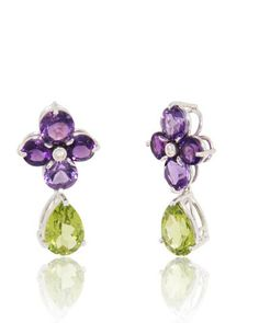 Flower Earrings with rich color Amethyst (3.5 cts) petals, Diamond (0.02 cts) center and dangling fine color Peridot (4.8 cts) drops. 18k White Gold Earrings.