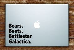 Bears Beets Battlestar Galactica Quote Laptop Decal Sticker Vinyl Art Quote Macbook Apple Decor Funny The Office TV Show - grey