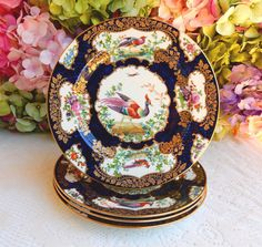 4 Antique 19c Minton English Porcelain Plates Cobalt Gold Encrusted Birds…