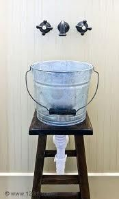 diy bathroom sink from a bucket | DIY: Galvanized Bucket as Bathroom Sink by