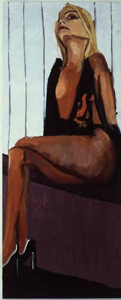 Chantal Joffe    Black Camisole    2004  Oil on board  305 x 124 cm  Hung around the gallery like banners, her visceral ten-foot tall portraits of women from the fashion pages are like a degenerate version of social realism.