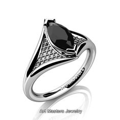 French 14K White Gold 1.0 Carat Marquise Black by artmasters