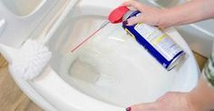 The solvents in will help dissolve any gunk and lime in your toilet. Spray your toilet bowl for a couple of seconds and use a toilet brush to help scrub away the grime. Wd 40 Uses, How To Remove Rust, Tea Stains, Toilet Brush, Toilet Spray, Woodworking Magazine, Toilet Bowl, Bathroom Cleaning, Cleaning Toilets