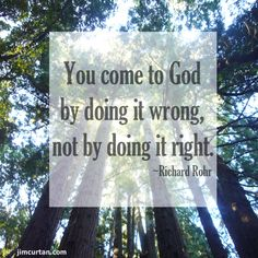 You come to God by doing it wrong, not by doing it right. ~Richard Rohr