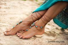 Beach wedding Seashells Tan and Aqua Crochet bridal by barmine