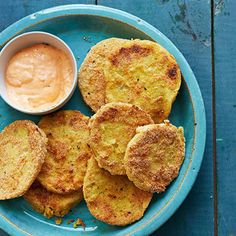 Fried Green Tomatoes with Red Pepper Aioli - FamilyCircle.com