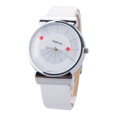 Trendy Smart White Digital Rotation Designed Display Time Leather Make Quartz Wrist Watch for Men Women