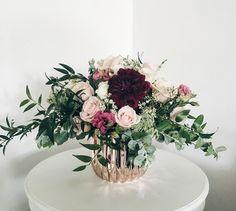 Rose Gold Vase: Dahlias, Italian Ruscus, Roses