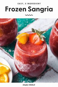 These refreshing, frozen sangria wine slushies are made with a red wine, peach and strawberry, and blended with orange juice and triple sec for some added sweetness. Best Sangria Recipe, Red Sangria Recipes, Slushie Recipe, Cocktail Recipes, Cocktails, Cranberry Sangria, Red Wine Sangria, Apple Cider Sangria, Frozen Sangria