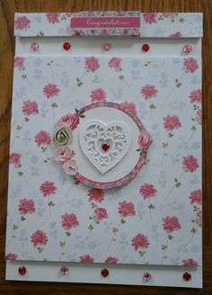 Heart and Flpwers Congratulation Card with envelope by Bubucraft