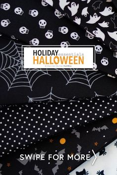 Don't be spooked! This spooktacular Halloween collection by Stacy Iest Hsu for Moda Fabrics features adorable bats, spiderwebs, ghosts and so much more! Shop the available yardage, precuts, and kits for your next Halloween project!
