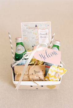 To show your appreciation, give welcome bags for guests staying at hotels. Include a few snacks, bottles of water, and a list of local resources, like the nearest drug store, restaurants and coffee shops, plus any nearby attractions. If you're able to splurge, throw in a bottle of wine, tasty local treats like an artisanal cheese.