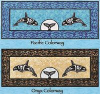 "Orca Bed Runner is a new version of the Orca project! Orca Bed Runner Pattern by Lisa Moore of Quilts With a Twist. The fusible applique Orcas (also available in laser cut) are set with a rising moon and whale tail. The project is 30"" x 73"" and will be a very nice bed runner for a queen size bed. http://www.kayewood.com/Orca-Bedrunner-Pattern-by-Quilts-With-A-Twist-QWT-ORBE.htm $9.00"