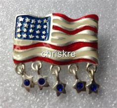 USA Flag Pin Brooch Enamel Crystal Americana Patriotic Stars July 4th US Seller #Unbranded