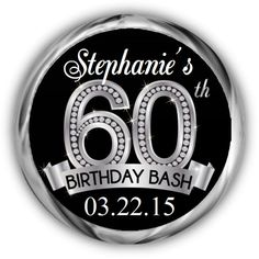 Diamond 60th Birthday Hershey Kisses Stickers - Personalized Birthday Kiss Favors