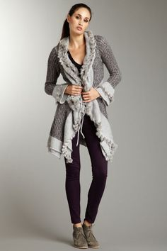 Olivia M Tie Front Long Cardigan with Fur Trim by Blowout on @HauteLook