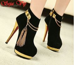 Black/Gold Shoes Closed with a flair of tassles, and a gold heel; High Heel Boots, Heeled Boots, Shoe Boots, Ankle Boots, High Heels, Hot Shoes, Shoes Heels, Pumps, Pretty Shoes