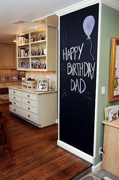 chalkboard accent wall...cute idea for a play/gameroom! <---Totally would put 1 in my kitchen to write down a grocery list as we begin to go out of things, or an appointment board.