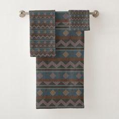 Aztec Native American Geometric Design Bath Towel Set