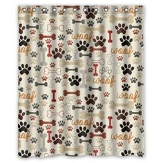 X Dog Paws And Bones Pattern Bathroom Shower Curtain Shower Rings Included,  Polyester