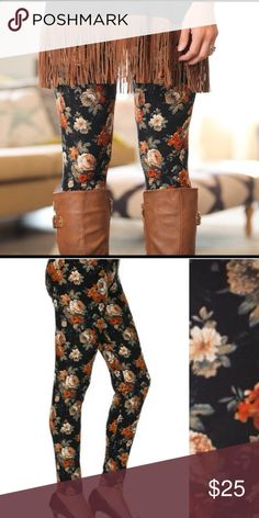 Fall Floral Print Leggings Brand new with tag. Amazing comfort in these soft brushed knit. Not sheer. Waist is a comfy soft elastic band. 92% polyester and 8% spandex. One size. Fits 0-12 comfortably (S - L) Boutique Pants Leggings