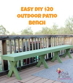 If you are looking for a little extra seating room on the patio, try making this 10ft bench, and for only $20!
