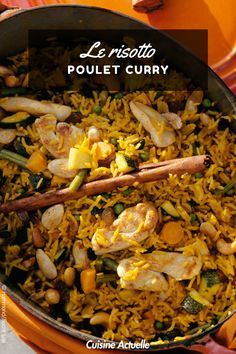 La recette du risotto poulet-curry #recettefacile #risotto #poulet #curry Paella, Food And Drink, Cooking, Ethnic Recipes, Foodies, Desserts, Simple, Risotto, Chicken