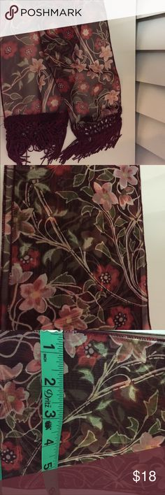 Beautiful boho red wine floral scarf with fringe Beautiful boho red wine floral scarf with fringe. Fringe on both ends. NWOT/ never worn. Purchased from Nordstrom. 56 inches in length Nordstrom Accessories Scarves & Wraps
