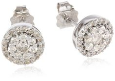 Amazon.com: 10k White Gold Round Diamond Cluster Earrings (1/2 cttw, I-J Color, I2-I3 Clarity): Jewelry