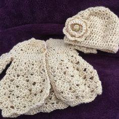 Newborn crocheted sweater and cap set by PetalsbyMandaandMe on Etsy