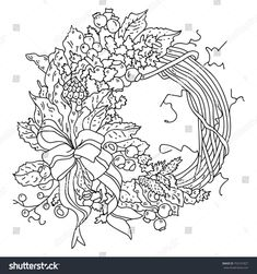 Stock Vector Black And White Illustration With Winter