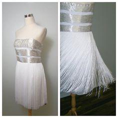 FRINGE Flapper Dress // White & Silver Beaded Mini Dress by braxae