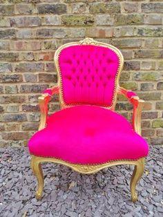 Louis Fuschia and Gold - Louis Style Salon Chair..waiting area
