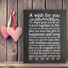 A Wish for You Quote Wedding Gift