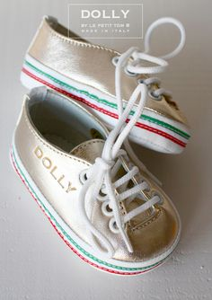 DOLLY by Le Petit Tom ® BABY LOW ITALIAN SNEAKER 1S platino